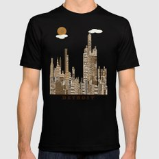 Detroit skyline vintage  Mens Fitted Tee Black LARGE