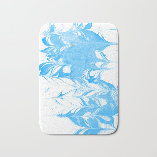 Suminagashi blue and white 1 marble spilled ink ocean swirl watercolor painting Bath Mat