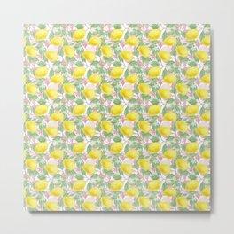 Yellow Pink White and Green Lemon Garden Metal Print
