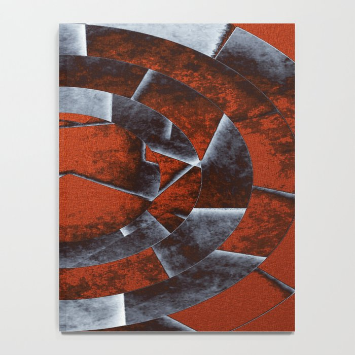 Concentric Rust - Abstract, geometric, tectured art in rustic brown, black and white Notebook