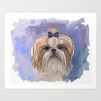shih tzu Art Prints featuring Shih tzu  by Michelle Behar