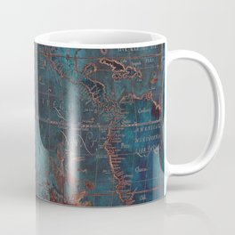 Antique Map Teal Blue and Copper Coffee Mug