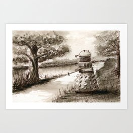 Lakeside Path in Sepia, with Dalek Art Print