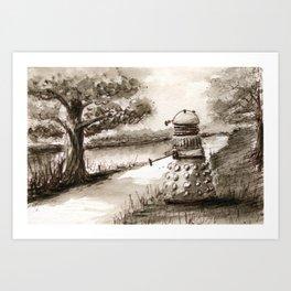 Lakeside Path in Sepia, with Dalek Art Print