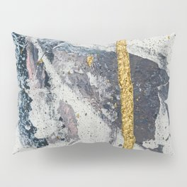 Synergy: a minimal, abstract mixed-media piece in gold, blue, and purple by Alyssa Hamilton Art Pillow Sham