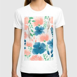 Watercolour background with variety of flowers XXII T-shirt