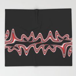 Fractal Line Art in Red, White and Black Throw Blanket