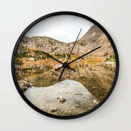 Crystal Clear Lake // Rustic Mountain Gray Sky and Autumn Colors Wall Clock