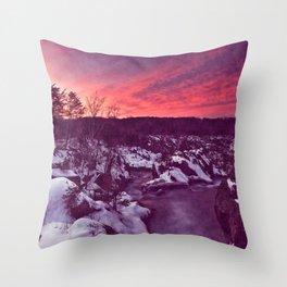 Great Falls Winter Twilight - Violet Velvet Fantasy Throw Pillow