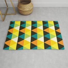 Geometric Pattern 60 (teal orange yellow triangles) Rug