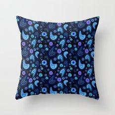 Paisley Power (Black Background) Throw Pillow