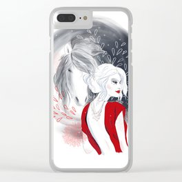 Girl and Horse Clear iPhone Case