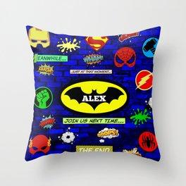 Super Hero Bat Shield Throw Pillow