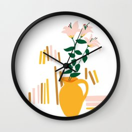 Yellow vase & lilys Wall Clock