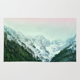 Snowy Winter Mountain Landscape with Alpenglow Rug
