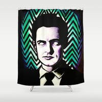 dale cooper Shower Curtains featuring Black Lodge Dale Cooper by Kate Davis