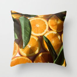 Orange Fruit Pattern Photography Throw Pillow