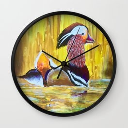 Colorful Mandarin Duck Floating on the water Wall Clock