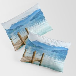 Pier on the lake watercolor painting  Pillow Sham