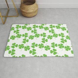 Lucky Shamrock Clover Leaves Rug