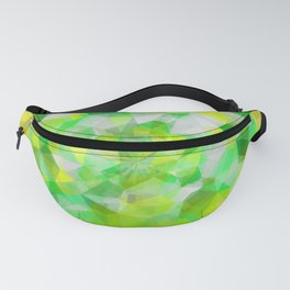 geometric polygon abstract pattern in green and yellow Fanny Pack