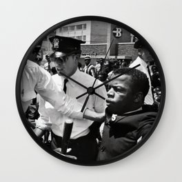 John Lewis being arrested by police during civil rights protest Wall Clock