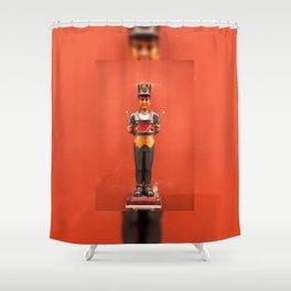 Carved drummer figure decoration Shower Curtain