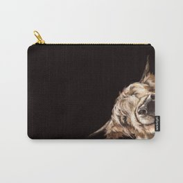 Sneaky Highland Cow in Black Carry-All Pouch