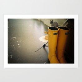 RAIN BOOTS IN NH Art Print