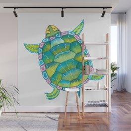 Tropical sea turtle - turquoise aqua blue Wall Mural