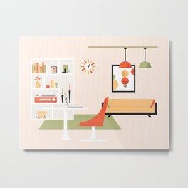 Mid-Century Modern Living - Living Room Metal Print