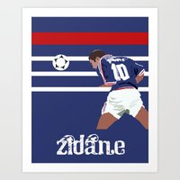 zidane Art Prints featuring Zinedine Zidane: France 98 by Andrew Gibney