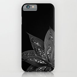 Gray Black Agave with Black Silver Glitter #2 #shiny #tropical #decor #art #society6 iPhone Case