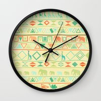 tribal Wall Clocks featuring Tribal by Sunshine Inspired Designs