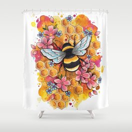 Neo Traditional Bee Shower Curtain