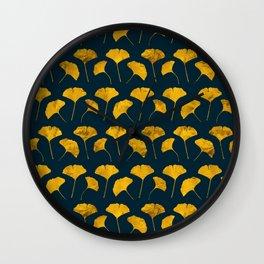 Yellow ginkgo leaves pattern Wall Clock