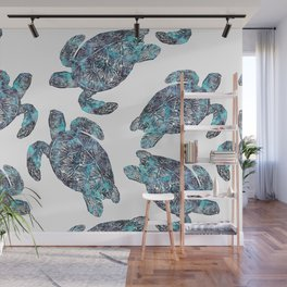 Sea Turtle Blue Watercolor Art Wall Mural