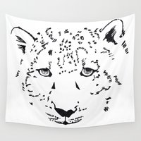 snow leopard Wall Tapestries featuring The Snow to the Leopard  by jzdchang