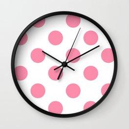Large Polka Dots - Flamingo Pink on White Wall Clock