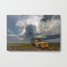 Work Hard - Old Farm Truck and Storm in Southern Kansas Metal Print