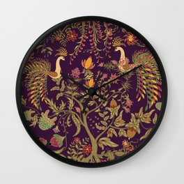 Birds of Paradise. Colorful illustration. Wall Clock