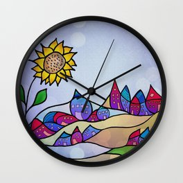 my little village and its sun -2- Wall Clock