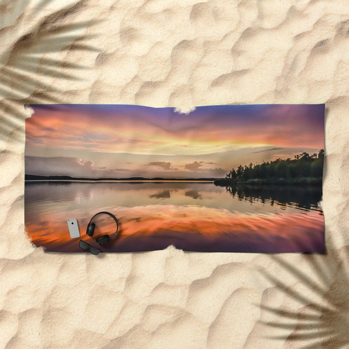 Sunset Symmetry Beach Towel