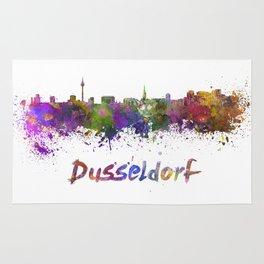 Dusseldorf skyline in watercolor Rug