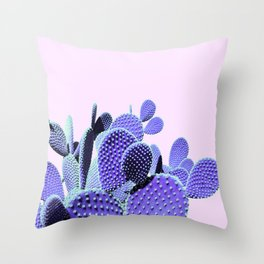 Prickly Cactus - Purple on Pink #cactuslove #tropicalart Throw Pillow