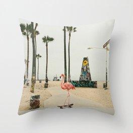 Venice Beach Flamingo Throw Pillow