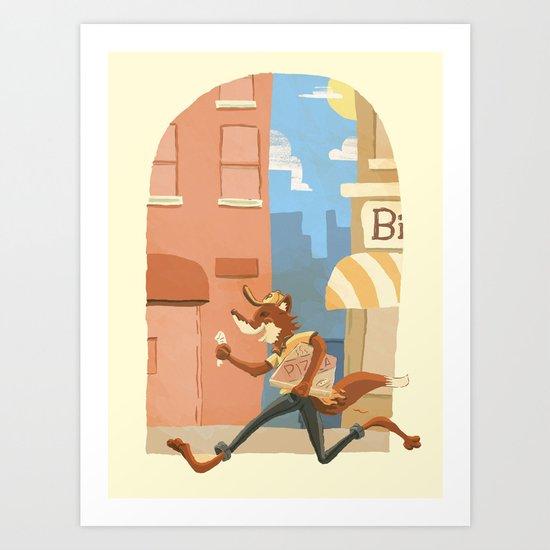 fox on the job Art Print