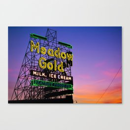 Tulsa Meadow Gold Neon - Route 66 Photo Art Canvas Print