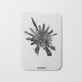 Dubai, United Arab Emirates Black and White Skyround / Skyline Watercolor Painting Bath Mat