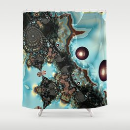 Shadow Blues Fractal Shower Curtain